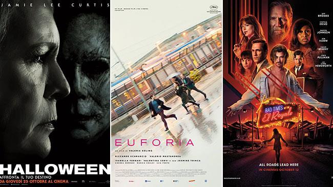 I poster dei film Halloween, Euforia, 7 sconosciuti a El Royale