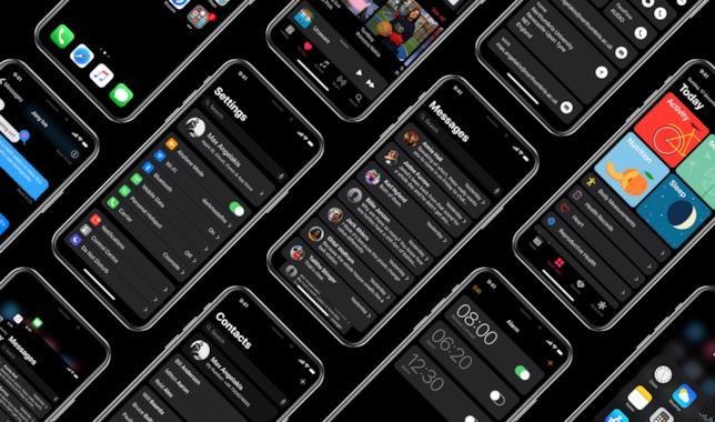Immagine promozionale del concept della Dark Mode di iOS realizzato da Maximos Angelakis