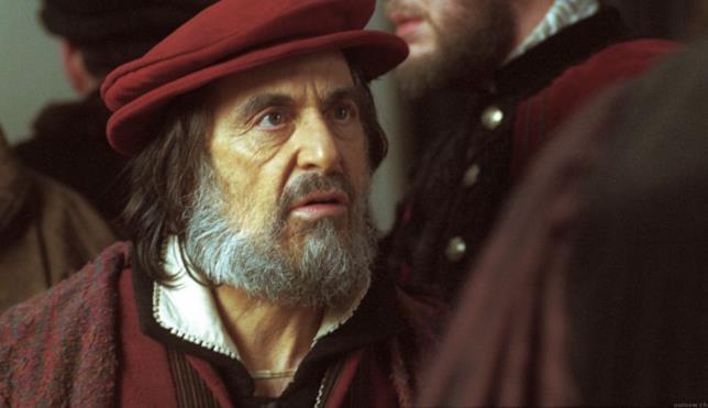 Un primo piano di Al Pacino nei panni di Shylock ne Il mercante di Venezia