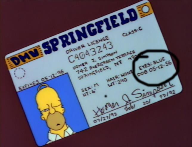 Homer è nato il 12 maggio 1956, secondo la sua patente