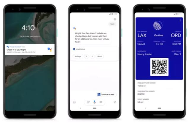 Immagine stampa per la nuova funzione di Google Assistant per effettuare il check-in dei voli