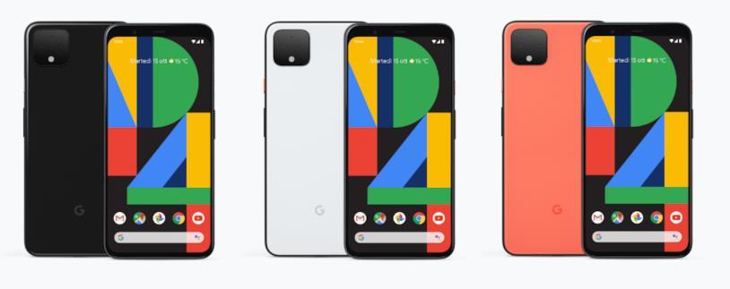 Pixel 4 in Nero, Bianco e Arancione