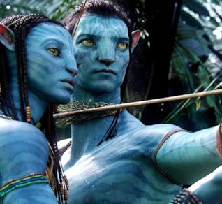 Zoe Saldana e Sam Worthington in Avatar