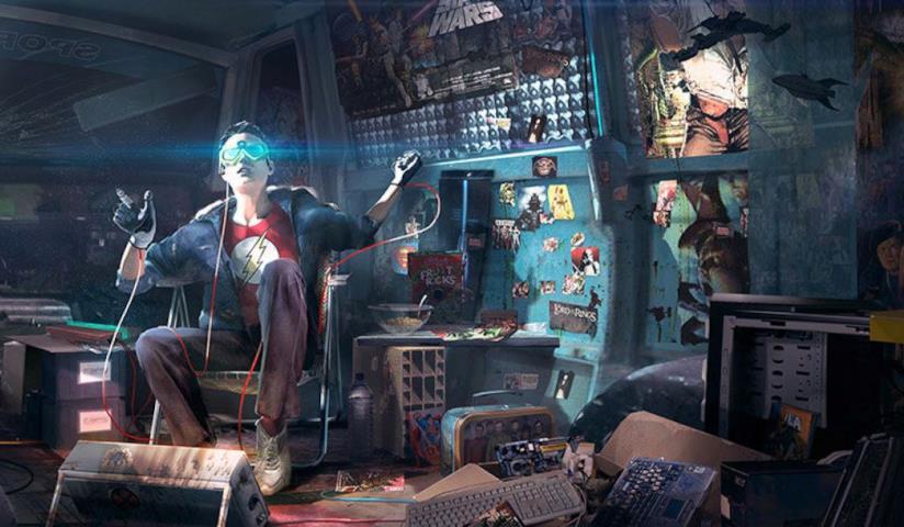 Il protagonista di Ready Player One gioca nella sua camera da vero nerd