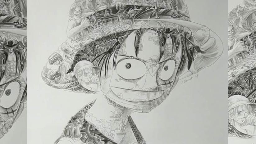 Rufy di One Piece disegnato da Ah Leung