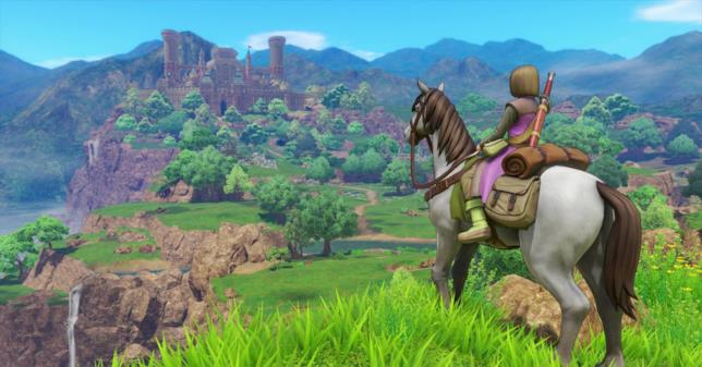 Il protagonista di Dragon Quest XI a cavallo
