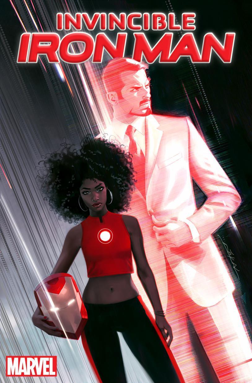 Riri Williams e Tony Stark sulla cover di Invincible Iron Man #1