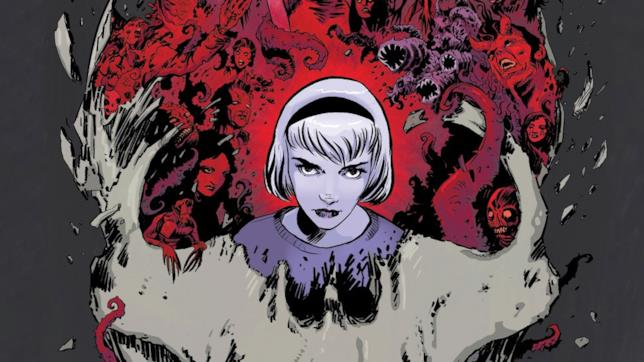 Sabrina nel fumetto circondata da mostri