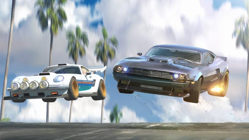 La corsa tra due auto in un'immagine della serie animata Fast & Furious: Spy Racers