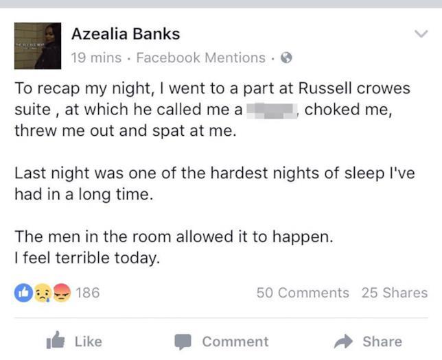 Azealia Banks accusa Russell Crowe di violenza su Facebook