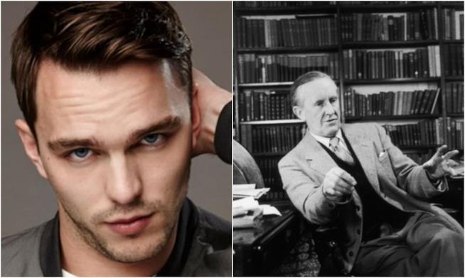 Un primo piano di Nicholas Hoult e di Tolkien