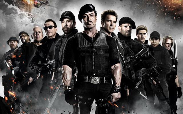 In foto il cast della saga de I Mercenari