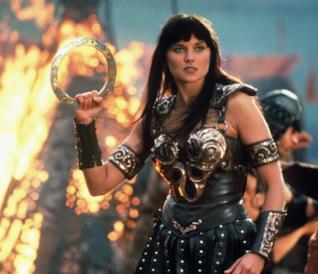 Lucy Lawless in una scena di Xena-Principessa Guerriera