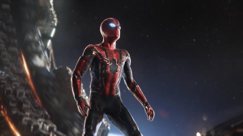 Spider-Man con il costume Iron Spider in una scena di Avengers: Infintiy War