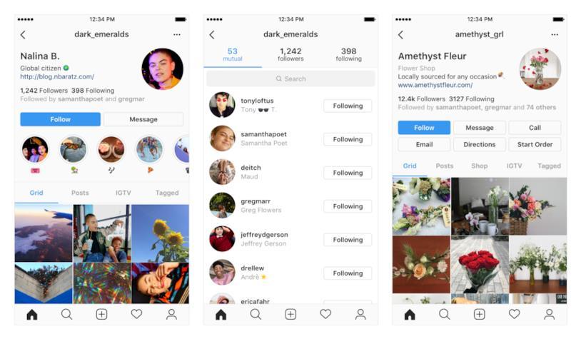 Screen condivisi da Instagram relativi al rinnovamento della pagina profilo di Instagram