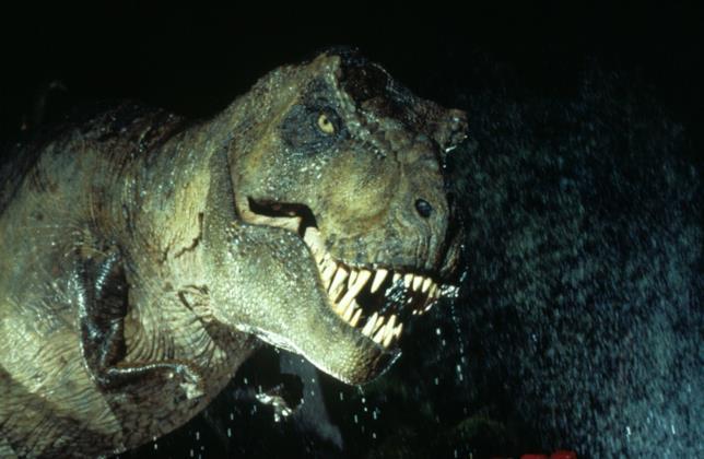 Un Tyrannosaurus rex visto nella saga di Jurassic Park