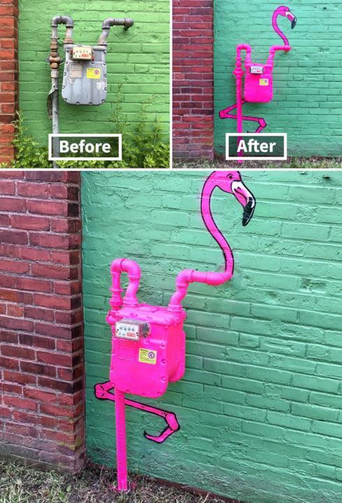 Le creazioni di Tom Bob: fenicottera rosa disegnato su un impianto idraulico