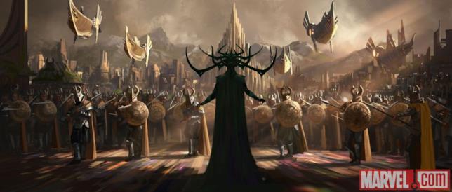 Hela sul ponte arcobaleno insieme al suo esercito si prepara all'invasione di Asgard