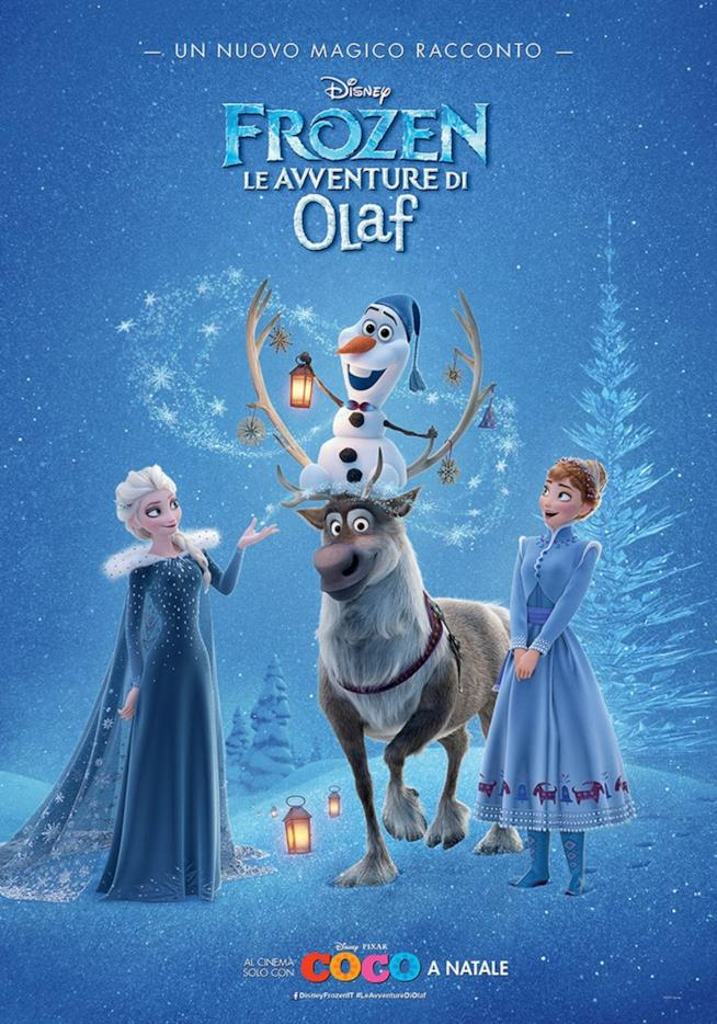 Il poster italiano del cortometraggio Disney Frozen - Le avventure di Olaf