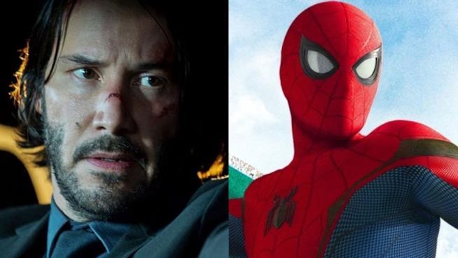 Primi piani di John Wick e Spider-Man