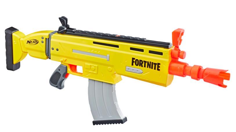 Il Hasbro Nerf Fortnite Ar L visto da tre quarti