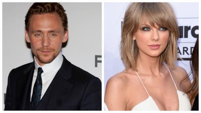 Primo piano di Tom Hiddleston e Taylor Swift