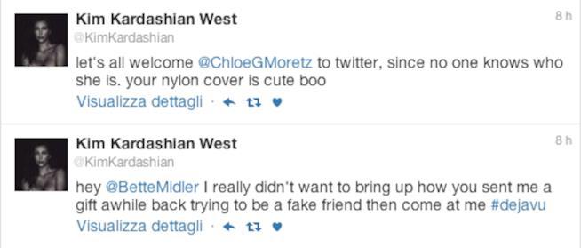 I tweet di Kim Kardashian contro Chloe Moretz e Bette Midler