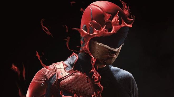 Un primo piano del protagonista nel poster promozionale della terza stagione di Daredevil
