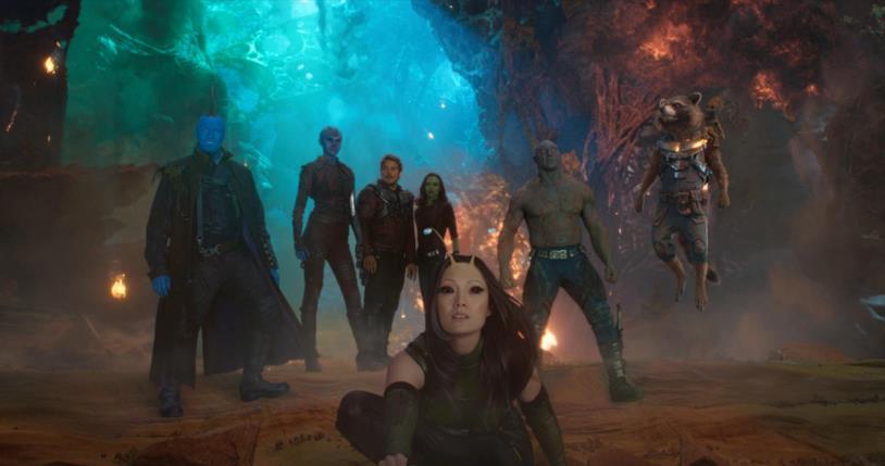 Chris Pratt, Zoe Saldana, Pom Klementieff e Dave Bautista in Guardiani della Galassia Vol. 2