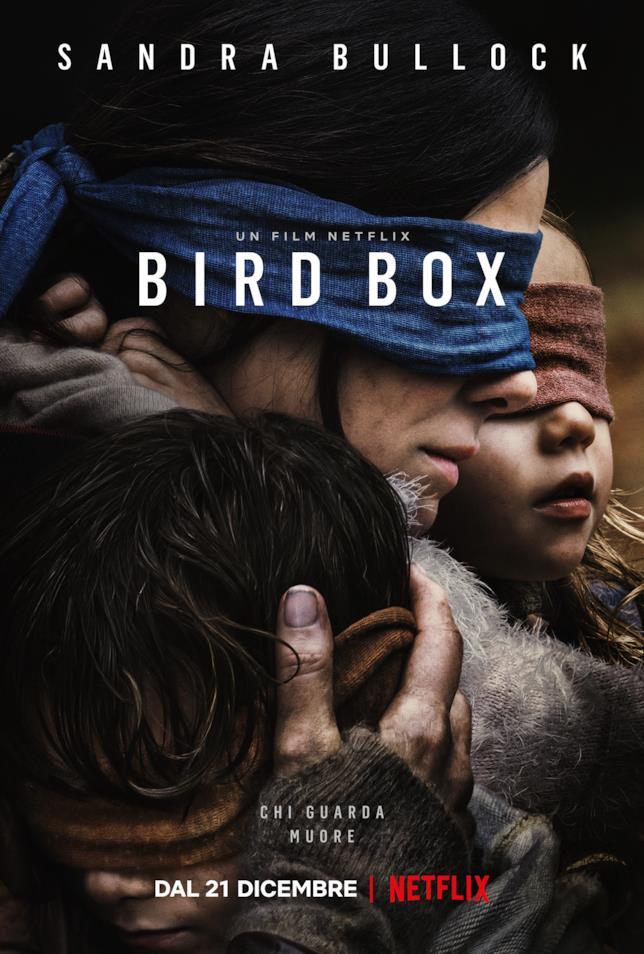 La locandina originale di Bird Box, film horror con Sandra Bullock