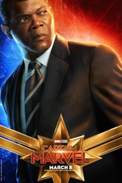 Il character poster di Captain Marvel con Nick Fury (Samuel L. Jackson)