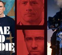Le locandine di No Time to Die e Red Notice e una foto tratta da Mission: Impossible 2