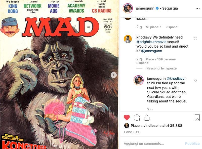 A sinistra l'immagine di una delle cover del magazine Mad, a destra domanda e risposta tra un fan e James Gunn a proposito del sequel del film L'angelo del male - Brightburn