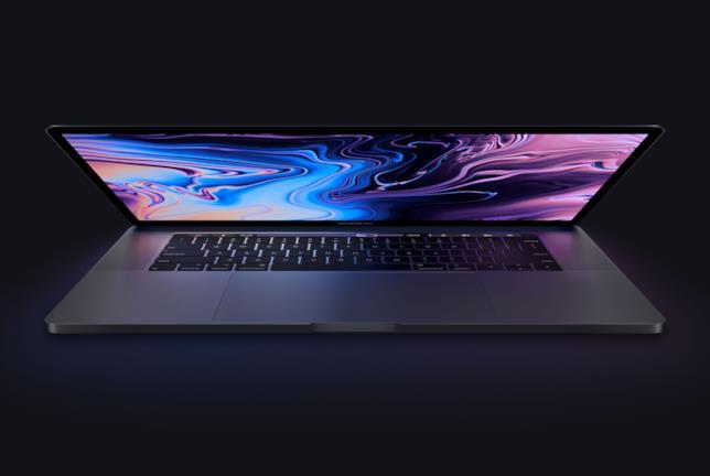 Primo piano del modello MacBook Pro con Touch Bar da 15 pollici