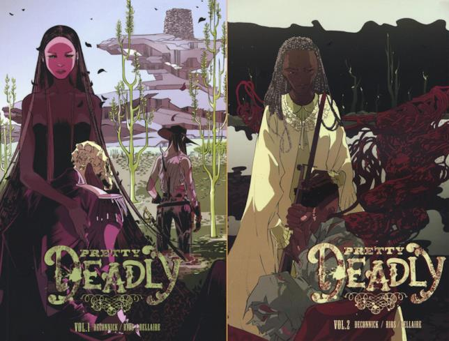 Le copertine dei primi due volumi di Pretty Deadly, pubblicati in Italia da BAO