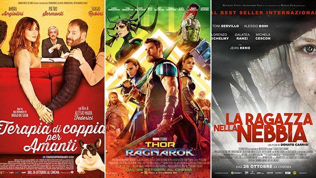 I poster dei film Terapia di Coppia per Amanti, Thor: Ragnarok e La Ragazza nella Nebbia