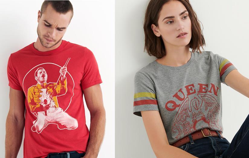 Le magliette per lei e per lui, con loghi e immagini della band