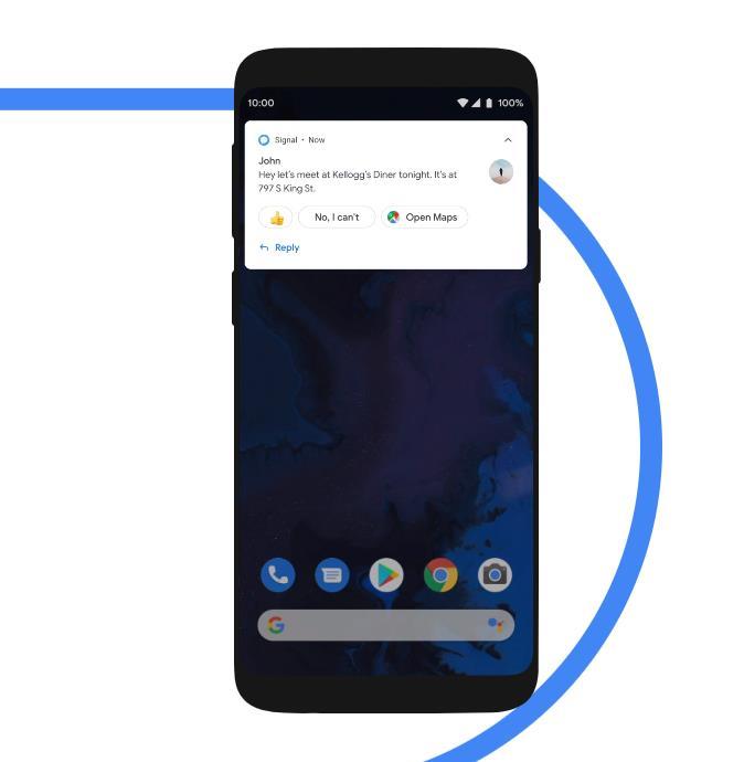 Immagine promozionale della funzione Smart Reply di Android 10