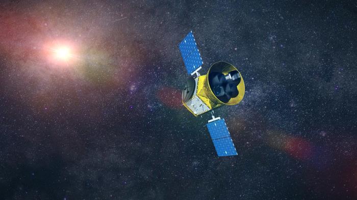 Un'illustrazione in 3D del telescopio spaziale TESS
