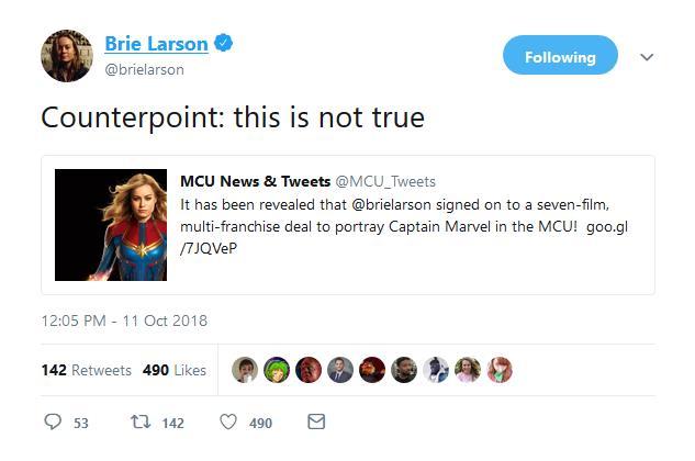 Brie Larson smentisce su Twitter di aver firmato per 7 film