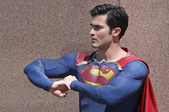 Tyler Hoechlin sul set di Supergirl