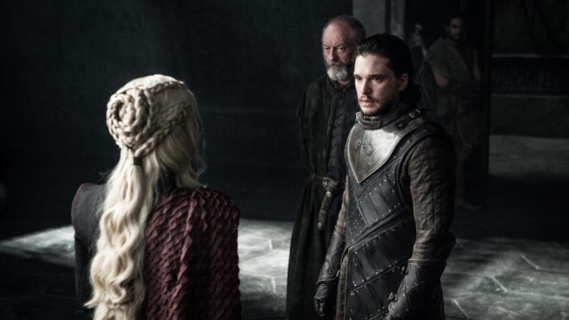 Jon Snow e Daenerys Targaryen nell'episodio di Game of Thrones 7x03, The Queen's Justice