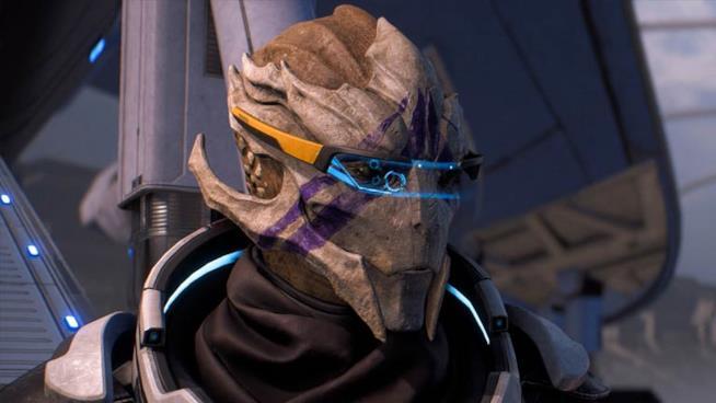 Un primo piano di Vetra Nyx, la Turian di Mass Effect: Andromeda
