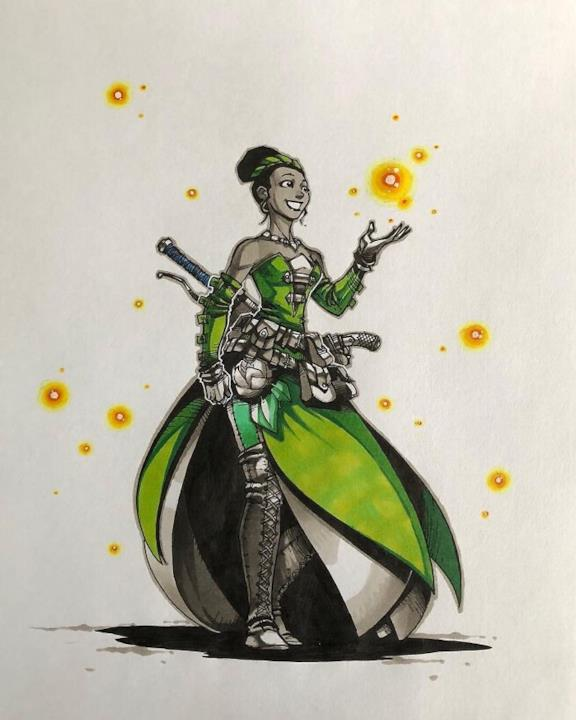 Principessa Tiana in versione guerriera disegnata da Artemii Myasnikov.