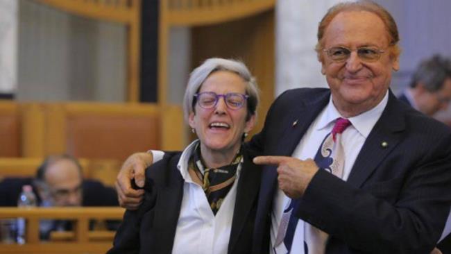 Renzo Arbore e la nipote di Totò Elena Anticoli