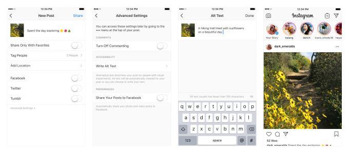 Screen delle nuove impostazioni di Instagram per migliorare l'esperienza d'uso degli ipovedenti