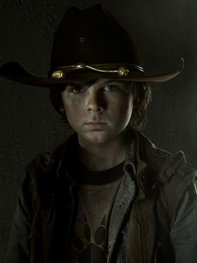 Il piccolo Carl in The Walking Dead