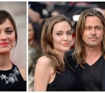 Primo piano di Marion Cotillard, Angelina Jolie e Brad Pitt