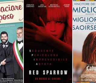 I poster dei film Puoi baciare lo sposo, Red Sparrow e Lady Bird
