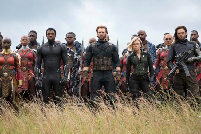 Capitan America, Vedova Nera, Bucky e Black Panther in Wakanda in Avengers: Infinity War